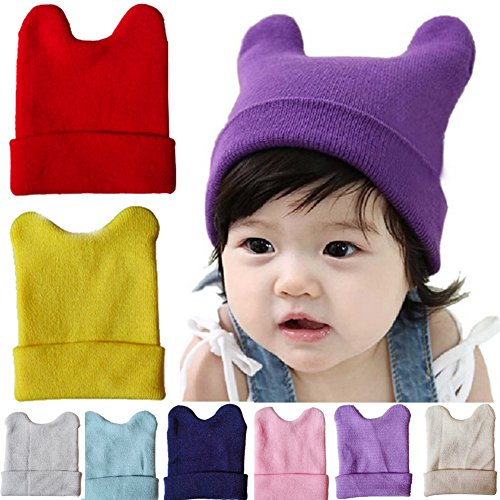 Pusheng Unisex Infant Baby Toddler Cute Ox Horn Ear Wool Knit Hat Beanie Cap