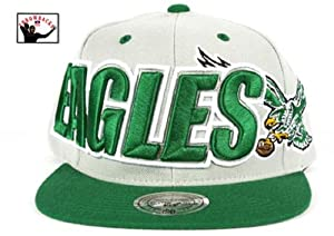 NFL Philadelphia Eagles Mitchell and Ness Large Wordmark Snapback Hat Cap M&N by Mitchell & Ness
