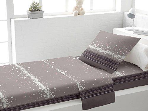 Set lenzuola per letto singolo in cotone DOUX grigio di Soleil d'Ocre