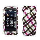 Hot Pink Plaid Design Hard Case Cover for LG Vu Plus GR700