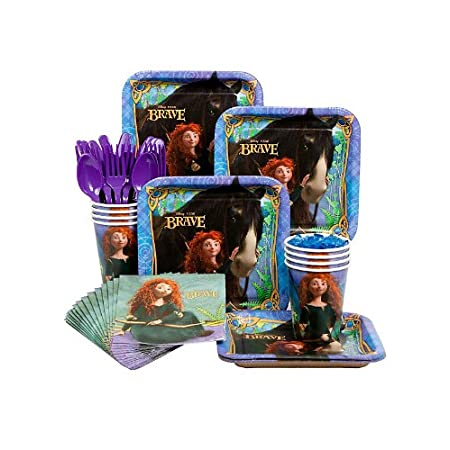 "Party supplies for 8 featuring Merida, Angus (on plates) and cubs from the new Disney movie ""Brave."" Includes 1 x Table cover 54"" x 102,"" Pack of 8 Invitations,  Pack of 8 Paper cups 9oz, Pack of 8 Plates 7"" x 7"" and Pack of 16 Beverage 2ply napkins ..."