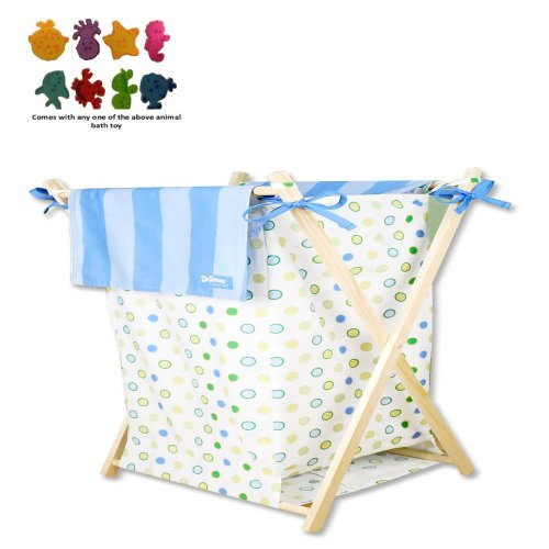 Trend Lab Infant Nursery Newborn Baby Room Decorative Laundry Clothes Organizer Dr. Seuss Blue Oh The Places You'Ll Go Hamper Set front-371113