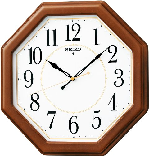 CLOCK SEIKO (Seiko) KX389B wood frame standard radio analog wall clocks (star anise / Brown)