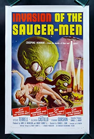 INVASION OF THE SAUCERMEN * CINEMASTERPIECES ORIGINAL VINTAGE FLYING SAUCER-MEN SAUCER MEN SCI FI SCIENCE FICTION UFO ALIEN MOVIE POSTER 1957