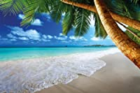 Sandy Beach with Palm Trees And The Sea Wallpaper–Paradise beach and palm trees mural–XXL beach wall decoration by GREAT ART