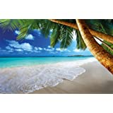 Sandy beach with palm trees and the sea photo wallpaper - paradise beach and palm trees mural - XXL beach wall decoration 82.7 Inch x 55 Inch