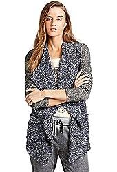 Lucky Brand Apparel Women's Sweater Mixed Wrap Sweater Blue Multi