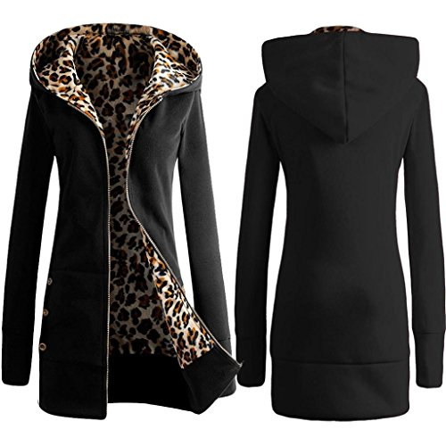 Women Coat, Velvet Thickened Hooded Sweater Leopard Zipper Coat (S, Black) (Wool Sweater Figures compare prices)