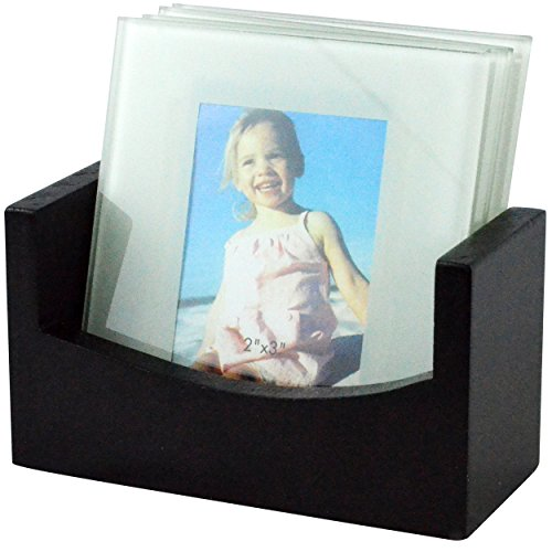 Southern Homewares Glass Photo Frame Coasters with Wood Storage Rack (Set of 4)