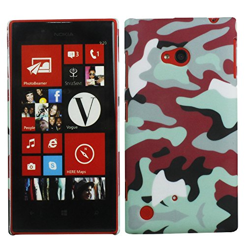 Heartly Army Style Retro Color Armor Hybrid Hard Bumper Back Case Cover For Nokia 720 Lumia RM-885 - Hot Red