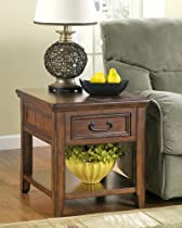 Hot Sale Signature Design by Ashley Rustic Dark Brown Woodboro End Table