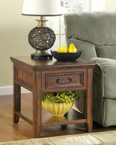 End Year Sale Ashley Furniture: Ashley Furniture: Rustic Dark Brown Woodboro End Table Big