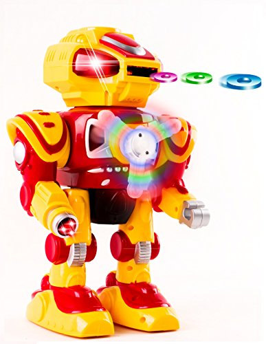 Android Battery Operated Disc Shooting Toy Robot Walking, Flashing Lights, Talking, Spinning, Disc Shooting Toy Robot (Walking Shooting Robot compare prices)