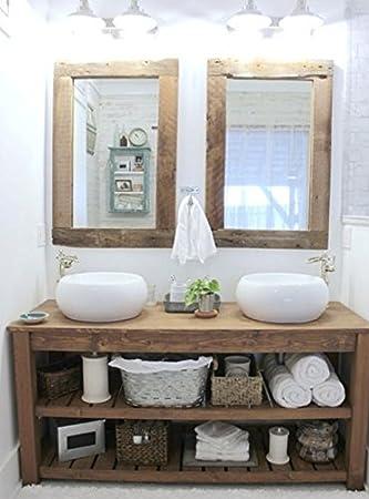 XLAB Mobile da bagno in legno massello misura 160x45x75 completo di 2 specchi
