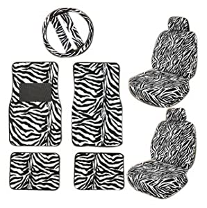 11pc Safari Car Mats Seat Steering Wheel Cover Set by CEL International Group Inc