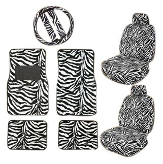 11pc Safari Zebra Car Mats Seat Steering Wheel Cover Set