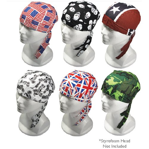Lot of 6 Motorcycle Biker SKULL CAP Head Wrap Doo Rags