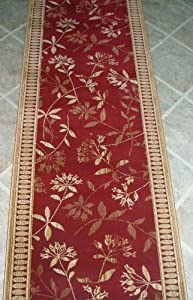 "AMZ119 - Rug Depot Remnant Runners - 26"" x 6'1 - Stanton Empire Argos 68494 - Crimson Background - Machine Made of 100% Polypropelene - Serged Ends"