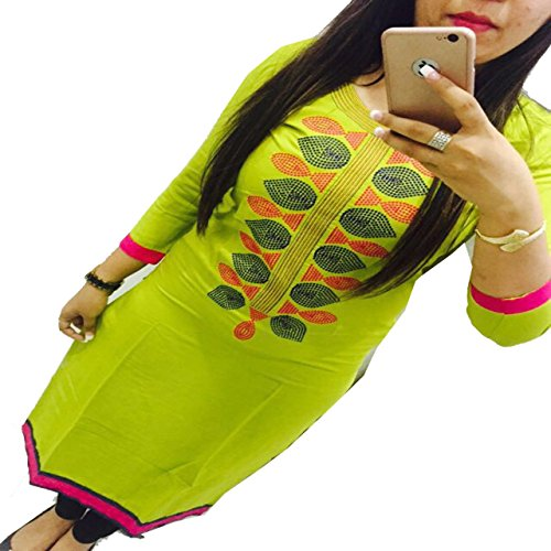ZHot-Fahion-Womens-Embroidered-semi-stitched-Selfie-Kurti-In-Georgette-Fabric-ZHKRT1016Free-SizeSea-Green