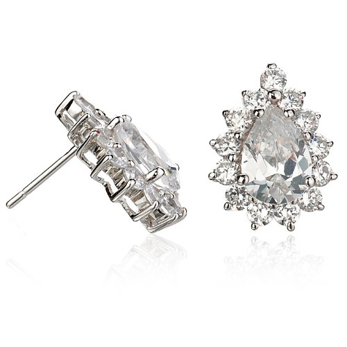LADI DI PEAR SHAPE EARRING WITH WHITE CZ
