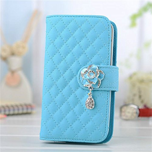 Borch Luxury Rhombus Design Camellia Pendant Purse Fashion Wallet Folio Leather Case Cover For Iphone6 4.7 (Sky Blue) front-49201