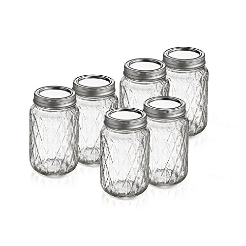 Style Setter Quilted Canning Jars with Lids (Set of 6), Clear (Quilted Canning Jars compare prices)