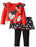 Disney Baby Baby-Girls Newborn Minnie 2 Piece Skirt and Pant Set, High Risk Red, 18 Months