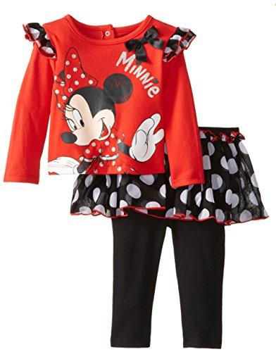 Disney Baby Baby-Girls Newborn Minnie 2 Piece Skirt And Pant Set, High Risk Red, 18 Months front-94259