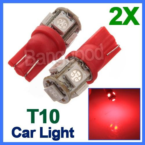 2X T10 194 168 W5W 5 Smd 5050 Red Led Car Wedge Tail Side Light Lamp Bulb 12V