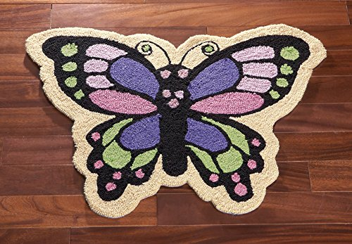 Skid Resistant Butterfly Accent Rug