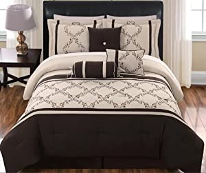 11 Piece Queen Hannah Chocolate and Beige Bed in a Bag Set