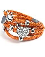 KONOV Bijoux Bracelet Femme - Charms Coeur Shamballa - Fantaisie - Cuir - Acier Inoxydable - pour Femme - Chaîne de Main - Couleur Orange Argent - Avec Sac Cadeau - F22424