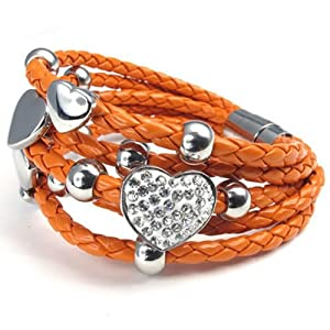 KONOV Schmuck Damen Armband, Leder Edelstahl Herz Charms, Orange Silber