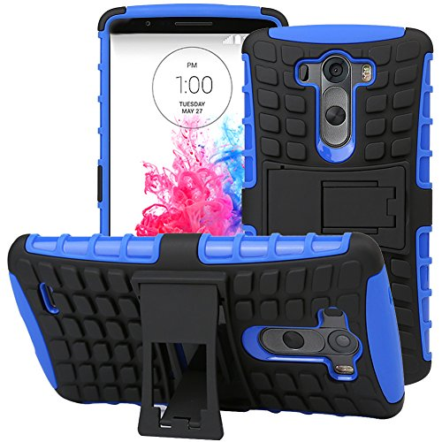 Lg G3 Case, Evecase Offroad Dual Layer Grip Case With Kick-Stand For Lg G3 4G Lte Smartphone - Blue