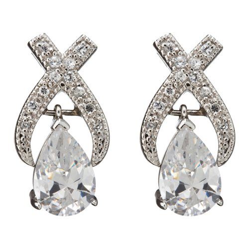 Saloma's 925 Sterling Silver Bridal Earrings Half Bezel Pear Shape CZ Center & Round CZ X Design - Incl. ClassicDiamondHouse Free Gift Box & Cleaning Cloth