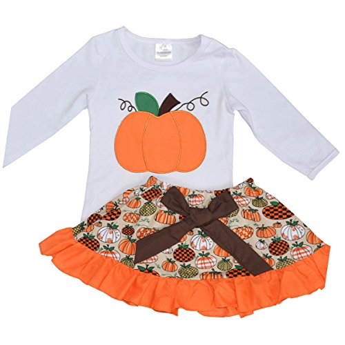 Unique Baby Girls 2 Piece Pumpkin Skirt Halloween & Thanksgiving Fall Outfit (8) (Cutest Baby Girl Clothes compare prices)
