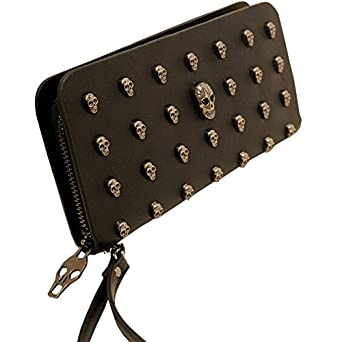 Women's PU Leather Punk Skull Skeleton Rivet Clutch Wallet Purse Hand Bag Case