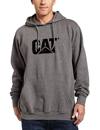 Caterpillar Men's Big-Tall Trademark Hooded Sweatshirt, Dark Heather Grey, Medium