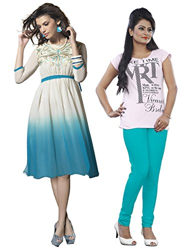 Surat Tex White Color Pure Georgette Festival Wear Embroidered Dress & 1 Legging absolutely Free