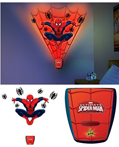 Marvel Ultimate Spiderman Wall Light with Decals and Sound - Kids