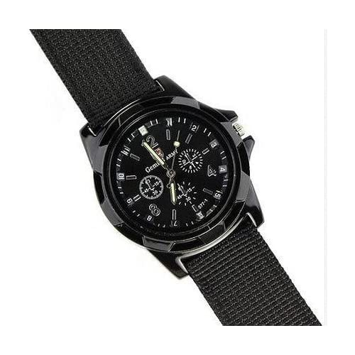 Mens Black Army Military Pilot Aviator Swiss Outdoor Sports Watch-Fabric Canvas Strap 17-21cm-Decorative dial...