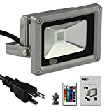 Esco-Lite 10W RGB Color Changing LED Flood Light With Memory Function with Ground Wire With Screw kit AC Cable 1.5M US 3-Plug for Home Outdoor Hotel Garden