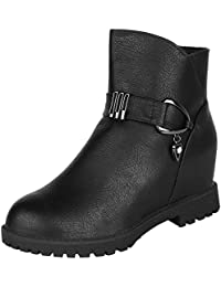 Authentic Vogue Women's Ankle-Length Trendy Wedge Heel Black Colour Leather Boots