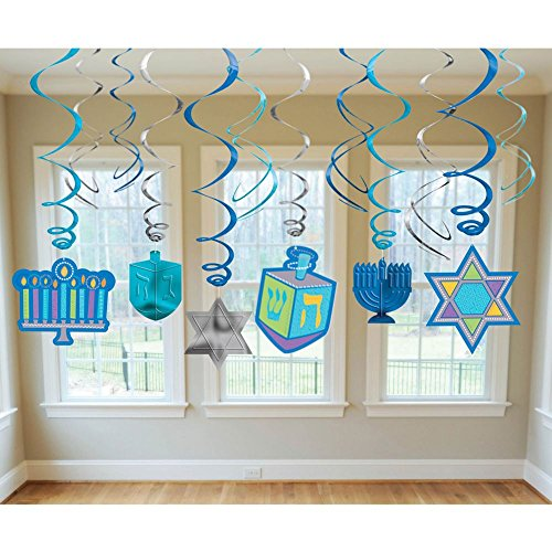 Hanukkah Hanging Swirl Decorations 12 Pieces