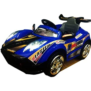 KID'S RIDE ON RECHARGEABLE SUPER BLUE PAGANI STYLE RACING CAR+R/C