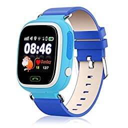 EOBP(TM) kids smart watch phone GPS Tracker Wifi Locating GSM Remote Locating Security SOS Alarm Antilost phone watch for children (Blue)
