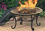 CobraCo FB6102 Round Cast Iron Brick Finish Fire Pit with Screen and Cover