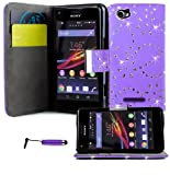 Magic Global Gadgets - Lilac Diamond Bling Sparkly Glitter Wallet Case For Sony Xperia M / M Dual C1904 / C1905 / C2004 / C2005 Pu Leather Magnetic Flip Book Style Cover Pouch With Built In Media Stand & Built In Card / Money Slots + Screen Guard Protect
