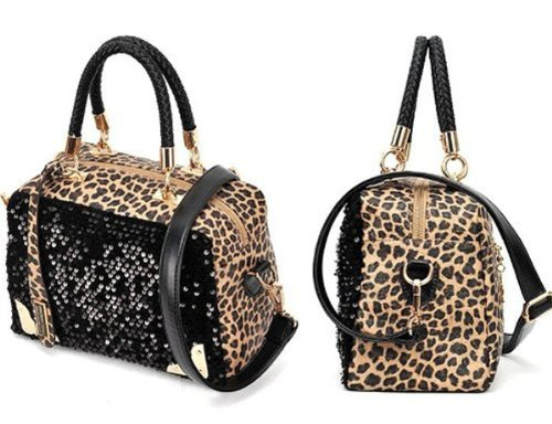 Big Save! New Black Fashion Women Lady Sequins Paillette Shouder Bag Leopard Handbag Tote