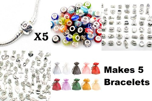Nambeads © Charm Bracelet Gift Set 2 - Makes 5 Complete bracelets. Includes 5 pandora style charn bracelets, 25 Murano glass beads, 10 Silver charms, 10 Silver Dangle charms, 5 Silver Clip stops and 5 Organza gift bags. DIY bracelet set makes fine present